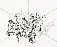 Schnittpunkt, 113 x 130 cm, Kohle und Kreide auf Papier, 2008