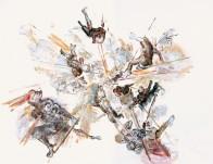 Sprengung Barock, 140 x 150 cm, Mischtechnik auf Papier, 2008