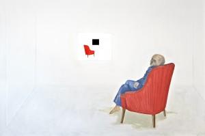 re-entry frames, 160 x 240 cm, Öl auf Leinwand und Monitor mit Video, 2012