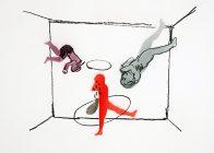 3 Figuren, 42 x 30 cm, Acrylspray und Kohle auf Karton, 2016, Privatbesitz