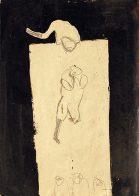 Fatzer und Frau, Teer und Bleistift auf Papier, 30 x 20 cm, 1993, Privatbesitz