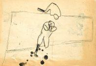 Fatzer und Frau, Din A 4, Kohle auf Papier, 1993, Privatbesitz