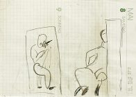 Beobachter (M.L.), Din A 5, Kohle auf Papier, 1993, Privatbesitz