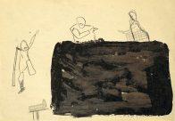 """""""...als ihr Zweifel hattet an mir..."""", Din A4, Grafit und Teer auf Papier, 1993, Privatbesitz"""