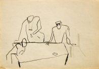 Besprechung, Din A 4, Kohle auf Papier, 1993, Privatbesitz