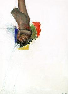 fallender Engel, 100 x 80 cm, Öl auf Papier (kaschiert auf Holz), 2018