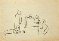 Müller + X, Din A 4, Kohle auf Papier, 1993, Privatbesitz