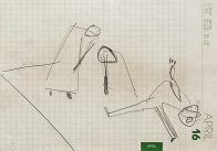 Probenszene, Din A 5, Kohle auf Papier, 1993, Privatbesitz