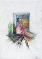 Frau am Fenster, 25 x 35 cm, Öl auf Leinwand, 2020