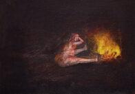 Am Feuer, 25 x 35 cm, Öl auf Leinwand, 2020