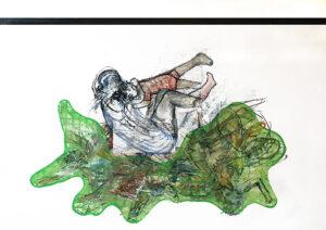Haufen, Öl und Kohle auf Karton (kaschiert auf MDF), 110 x 157 cm, 2019