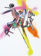 springen, 40 x 30 cm, Öl und Kohle auf Bütten, 2019