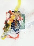 beugen, 40 x 30 cm, Öl und Kohle auf Bütten, 2019