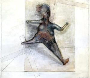 schreitende Frau, Öl und Kohle auf Karton (kaschiert auf MDF), 110 x 117 cm, 2019