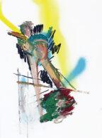 fliegen, 40 x 30 cm, Öl und Kohle auf Bütten, 2019