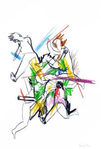 Version 7 Dornenkrönung, Kohle und Patell auf Papier, 30 x 21 cm, 2020