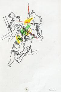 Version 2 Dornenkrönung, Bleistift und Pastell auf Papier,30 x 21 cm, 2017