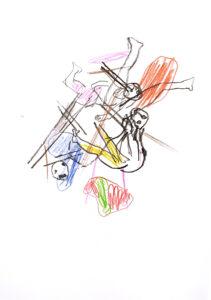 Version 6 Dornenkrönung, Kohle und Pastell auf Papier, 30 x 21 cm, 2020