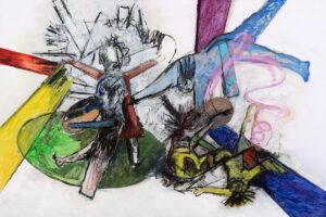 Chaos, Öl und Kohle auf Papier (kaschiert auf MDF), 2019