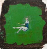 Fallübung, 35 x 34 cm, Öl auf Holz, 2020