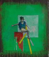 rot gelb grün blau, 40 x 34 cm, Öl auf Holz, 2020