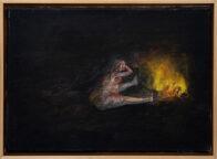 rau am Feuer, 25 x 35 cm, Öl auf Leinwand, 2020, Privat Collection