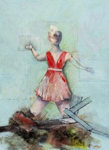 Frau im Flur, Öl und Lack auf Papier (kaschiert auf MDF), 150 x 110 cm, 2019