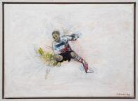 Fußballer. Öl auf Leinwand, 25 x 35 cm, 2020