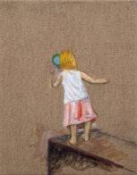 Mädchen mit Lupe, 40 x 30 cm, Öl auf Leinwand, 2020