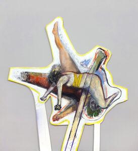 Schnittmenge - Bildobjekt, Öl auf Papier (kaschiert auf MDF), 100 x 110 x 3 cm, 2020