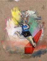 Sprung, 40 x 30 cm, Öl auf Leinwand, 2020