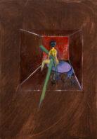 Figur in Gelb, 42 x 30 cm, Öl auf Holz, 2020