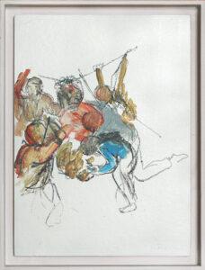 Studie zu Dornenkrönung, Öl auf Karton, 30 x 20 cm, 2016